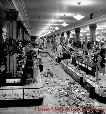 Mess From Christmas Shoppers, Macy's, New York City -1948- Historic Photo Print