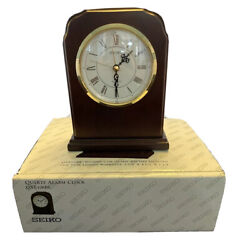 Seiko Desk Quartz Alarm Clock Mahogany Finish QXE106BL New With New Battery