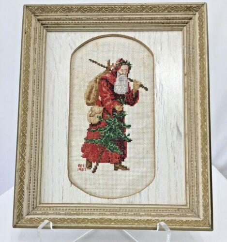 Christmas Santa Cross Stitch Framed Picture Signed REL 1987 Vintage