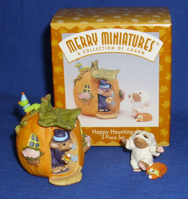 Hallmark Halloween Merry Miniatures Set Happy Haunting 1996 Mouse Witch Ghost  - Merry Halloween