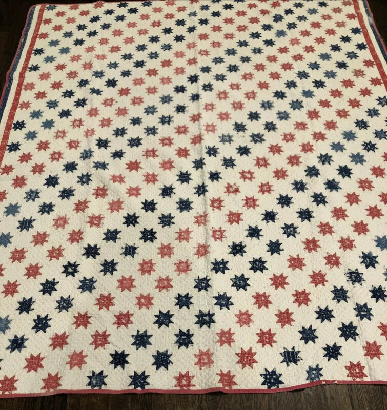 """Antique Quilt With 416 Tiny """"Single Star"""" Blocks"""