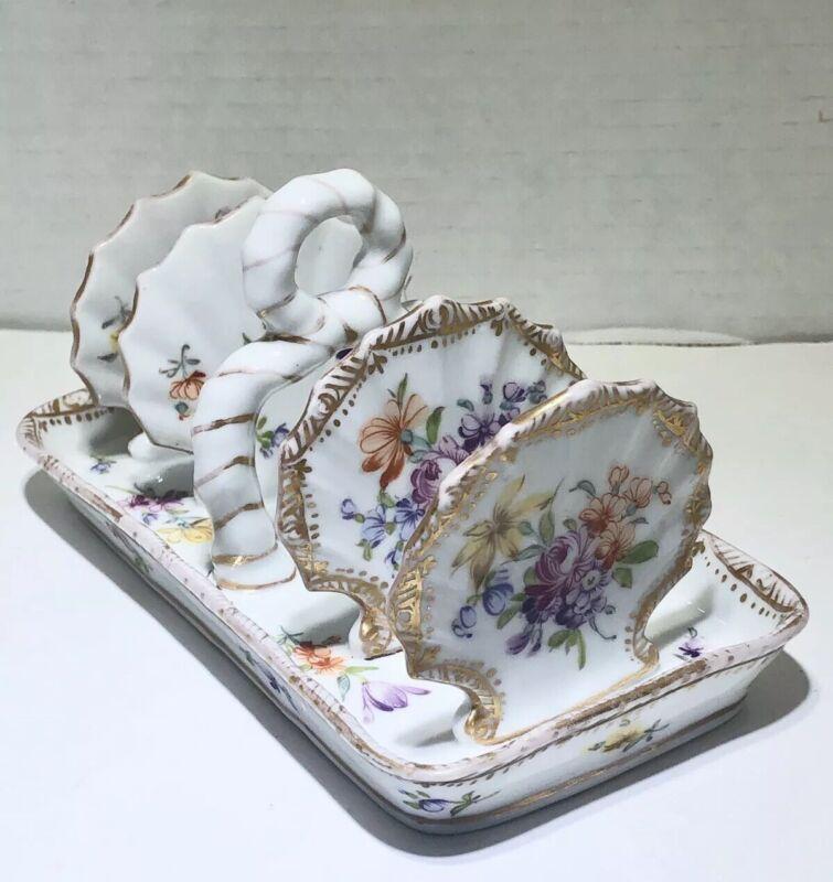 DRESDEN Toast Holder German Porcelain Hand Painted Floral Rare