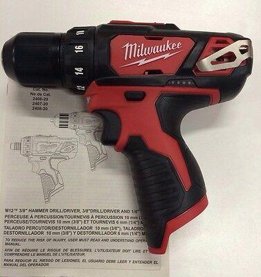 Milwaukee 2407 20 New M12 12V Volt Li Ion 3 8  Chuck Drill Driver 2 Speed Led