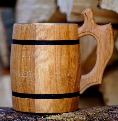 Bierkrug Typ 2 mit Edelstahleinsatz Eichenholz Humpen Krug Bier Trinkgefäß Holz