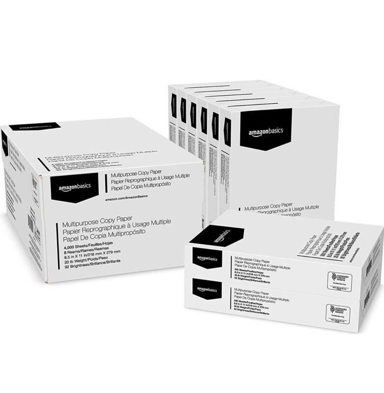 Amazon Basics Multipurpose Copy Printer Paper - White, 8.5 x 11 In, 8 reams,4000