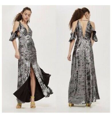 Silver Foil Dress (TOPSHOP Metallic SILVER Foil COLD SHOULDER Plunging Neck MAXI DRESS-)
