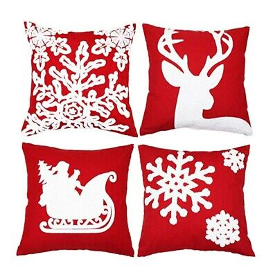 Sykting Embroidery Throw Pillow Case 18x18 Christmas Pillow Cover Set of 4