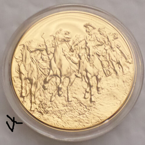 """24K Gold Bronze Medal, """"Dismounted: The 4th Troopers Moving"""" Frederic Remington"""