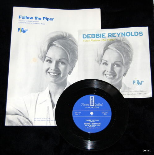 GIRL SCOUT RECORD & SHEET MUSIC - DEBBIE REYNOLDS - 1966 FOLLOW THE PIPER