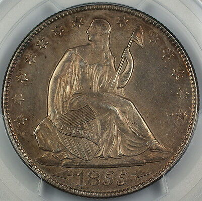 Click now to see the BUY IT NOW Price! 1855-O SEATED LIBERTY SILVER HALF DOLLAR, PCGS UNC DETAILS QUEST. COLOR, CHOICE