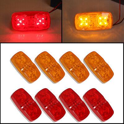 Red Led Light Bulb - 8x Trailer Marker LED Light Double Bullseye 10 Diodes Clearance Light Red/Amber