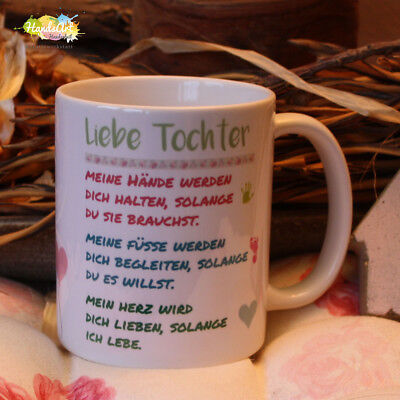 Valentin Kinder (Tasse / Liebe Tochter -meine Hände / Geschenk Kinder Weihnachten Valentinstag)
