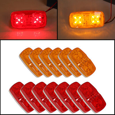 13X Trailer Marker LED Light 10 Diodes Clearance Light 7 Red and 6 Amber 13 Diode Led Marker