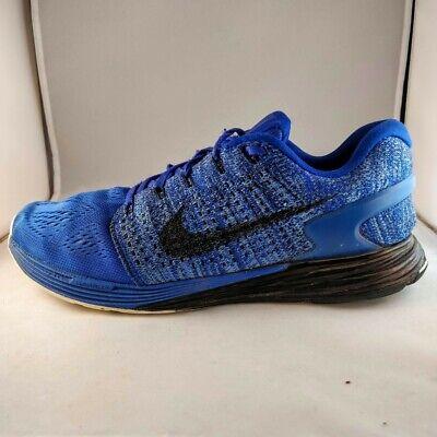 Nike Lunarglide 7 Running Trainers Flyknit Blue Size UK 8