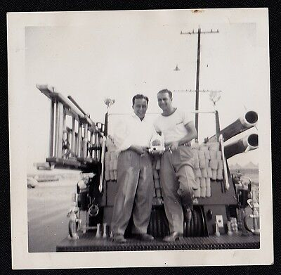 Old Time Fire Truck - Old Antique Photograph Two Men Standing on Back of Old Time Fire Truck Engine