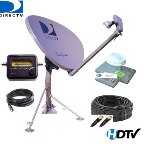 Directv Swm 3-lnb Slimline Ka Ku Dish Sl3 Mpeg4 Hd + Rg6 Cable & Signal Finder