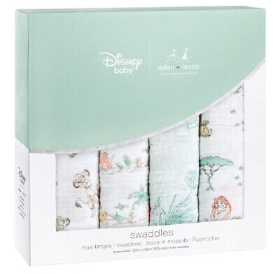 "Aden & Anais Classic Disney 47"" x 47"" Baby Swaddles The Lion King 4 Pack NEW"