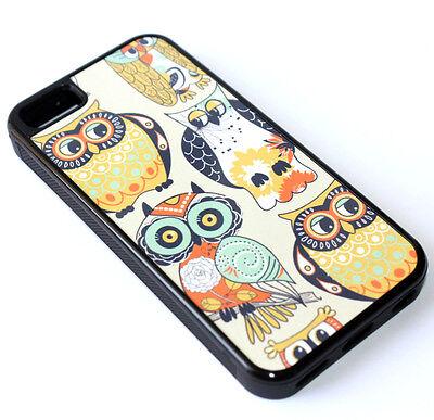 $8.82 - for iPhone 5C - Vintage Floral Owl Birds Hard Rubber Gummy TPU Skin Case Cover