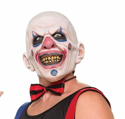 Psycho Clown Mask Shaved Bald Head Assassin Adult Halloween Wide Smile Latex NEW](Halloween Psycho Mask)