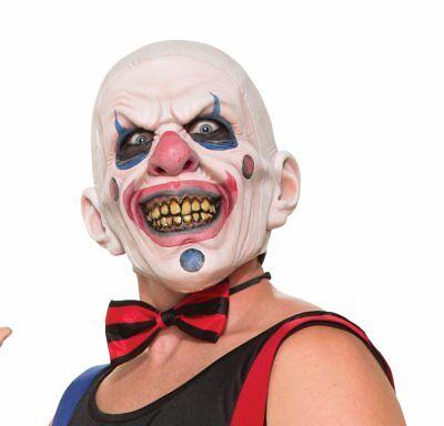 Psycho Wide Smile Clown Mask Shaved Bald Head Joker Mouth Adult Mens Latex - Clown Joker Mask