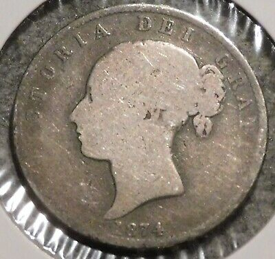 British Silver Half Crown - 1874 - Queen Victoria - $1 Unlimited Shipping