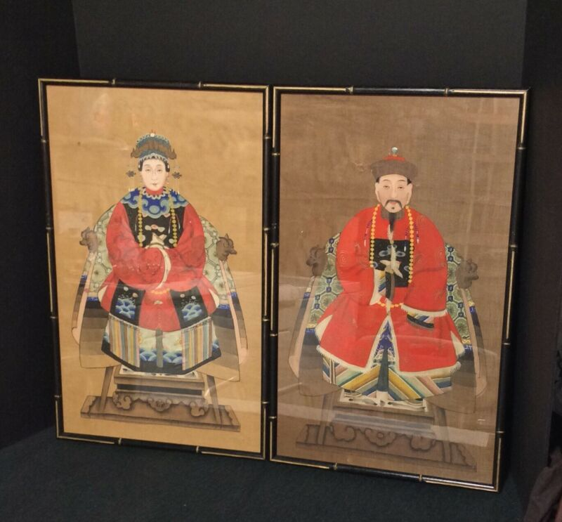 Pair of Hand Painted Chinese Ancestral Portraits