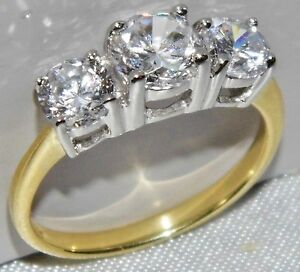 9CT YELLOW GOLD & SILVER 1.75 CARAT 3 STONE ENGAGEMENT RING - size N