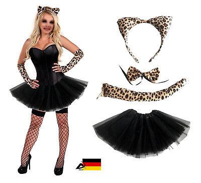 Damen Leopard  KOSTÜM Verkleiden Fasching Karneval Dress Up 4 Teilig Halloween - Leopard Kostüm Damen