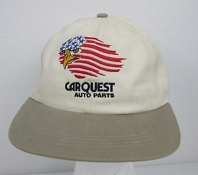 Carquest Auto Parts Eagle American Flag Logo Tan Snapback Hat One Size Ball Cap