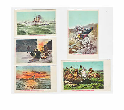 5  Old Russian Japanese War Postcards Kokusansha Vf Russo Japanese War