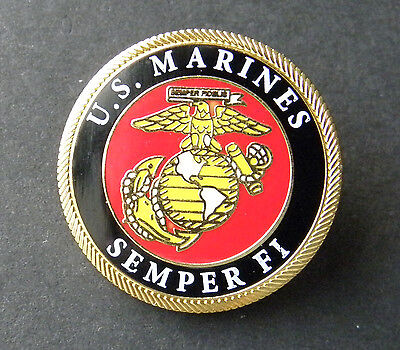 US MARINES SEMPER FI USMC MARINE CORPS ROUND LAPEL HAT PIN BADGE 1 INCH