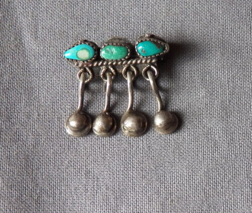 Vintage Native American Handmade Silver Turquoise Row Pin with Dangles ~ Tiny