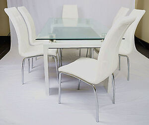 Detroit Husk 7pc Dining Set,Dining Table and 6 White Chairs Punchbowl Canterbury Area Preview