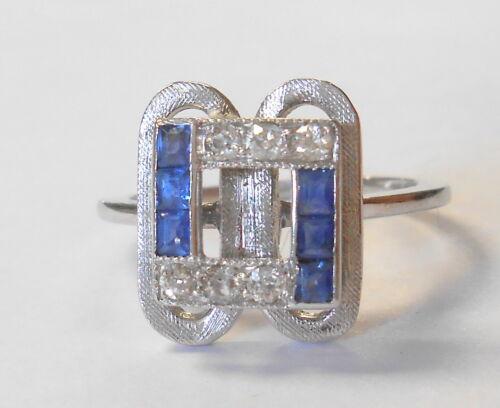 Art Deco Geometric Mine Cut Diamond Blue Sapphire 14K White Gold Ring Size 7.25