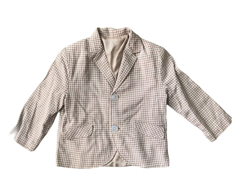 Boys Size 4 Sport Coat Lined Suit Jacket Tan Beige Plaid Check Sears Vtg Easter