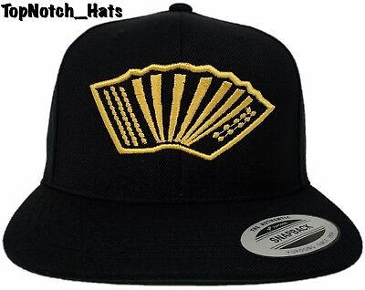 Acordeón/Accordion Instrument Logo Black And Gold Snap Back Brand New !!!