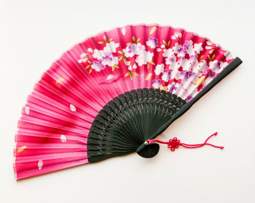 White Cherry Blossom Design Bamboo Handfan Folding Fan Rose Pink Color