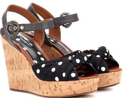 Authentic Dolce&Gabbana Polka Dot Cork Wedge Sandals EU Size - 38 New in Box
