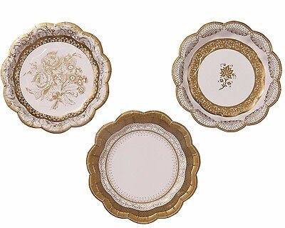 Gold And White Paper Plates x 12 (17 cm) - Christmas / Wedding Table ](Gold And White Paper Plates)