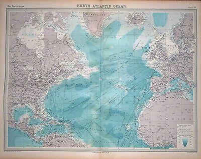 1920 LARGE MAP ~ NORTH ALANTIC OCEAN ~ 23