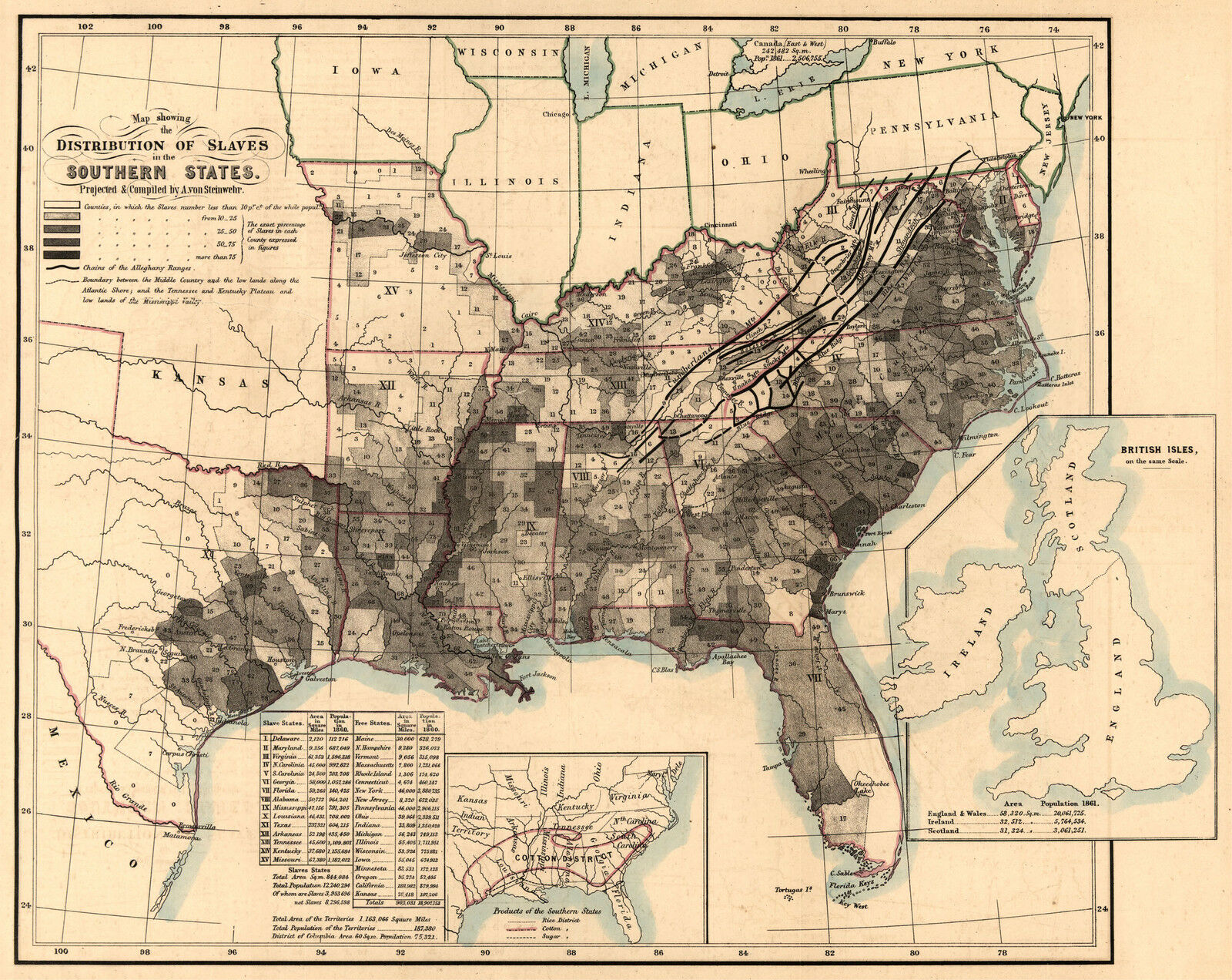 1864 Map showing SLAVERY distribution, Black History, U.S America, Trade, (NICE)