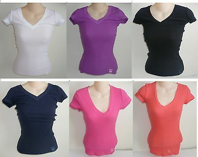 Womens Aeropostale Solid Ribbed V-neck Tee Thermal T-shirt 6006