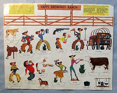 scarce 1950's HAPPY BREAKFAST RANCH paper punch out Cowboy play set PREMIUM