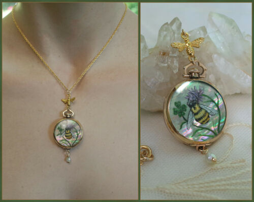 ANTIQUE Ladies Gold Filled Pocket Watch Necklace Hand Painted Honey Bee Clover
