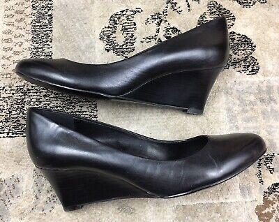 Calvin Klein YANA Wedges Black Leather Pumps Women Size 5.5 Slip On Dress Shoes