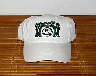 KIDS SOCCER MOM WHITE BALL EMBROIDERED ADJUSTABLE BASEBALL STYLE CAP HAT NEW ()