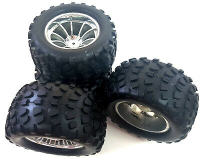 08045x4 1/10 Scale Off Road Monster Truck Tyre and Wheel Rim Chrome Silver x 4  ()