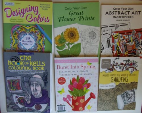 Lot Adult Coloring Books Creative Flowers Garden Spring Abstract Kathy Ireland
