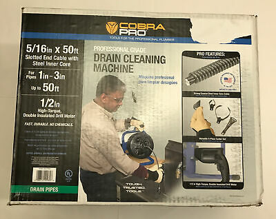 Cobra Pro Cp2040 516 X 50ft Drain Cleaning Machine For 1 - 3 Pipes - New