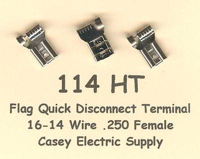 50 High Temperature Flag Quick Disconnect Terminal 16-14 Gauge Wire .250 Female